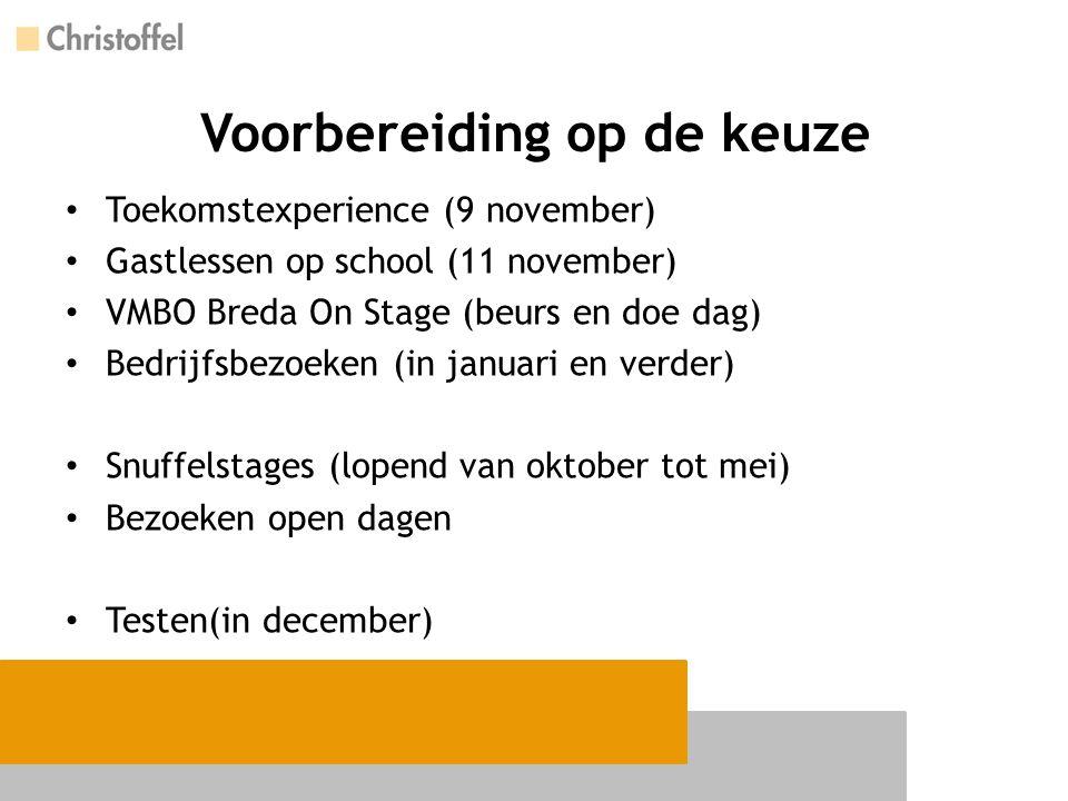 Voorbereiding op de keuze Toekomstexperience (9 november) Gastlessen op school (11 november) VMBO Breda On Stage (beurs en doe dag) Bedrijfsbezoeken (