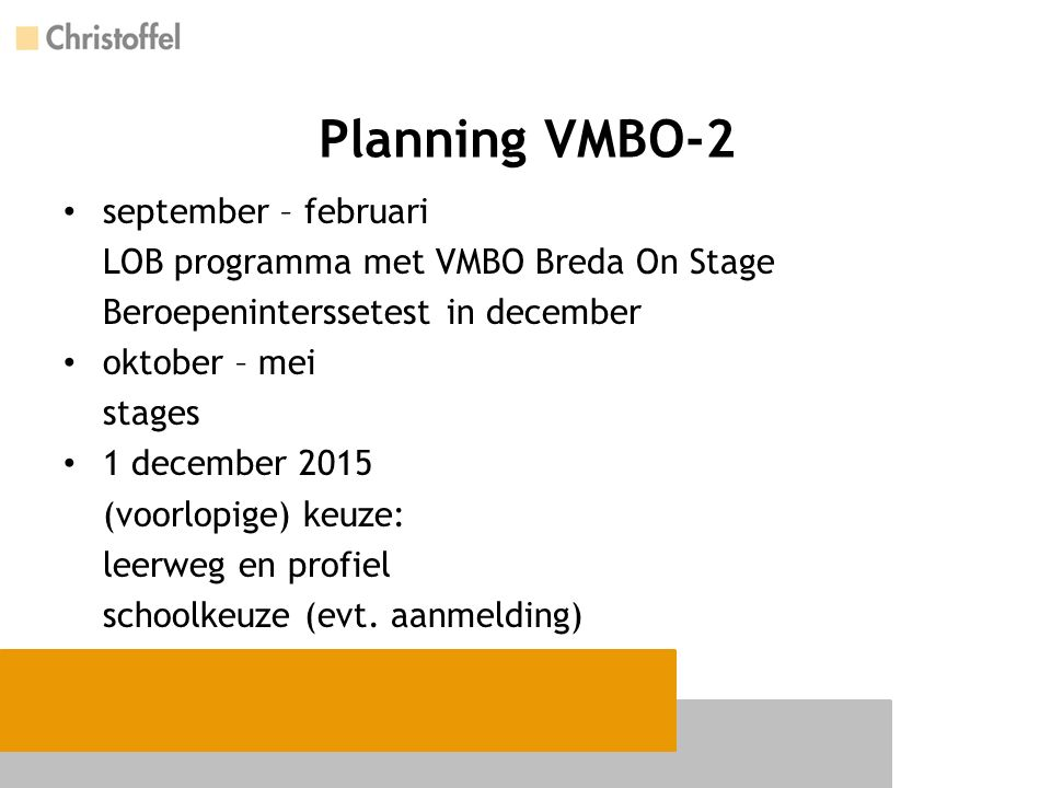Planning VMBO-2 september – februari LOB programma met VMBO Breda On Stage Beroepeninterssetest in december oktober – mei stages 1 december 2015 (voor