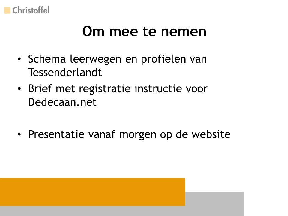 Om mee te nemen Schema leerwegen en profielen van Tessenderlandt Brief met registratie instructie voor Dedecaan.net Presentatie vanaf morgen op de web