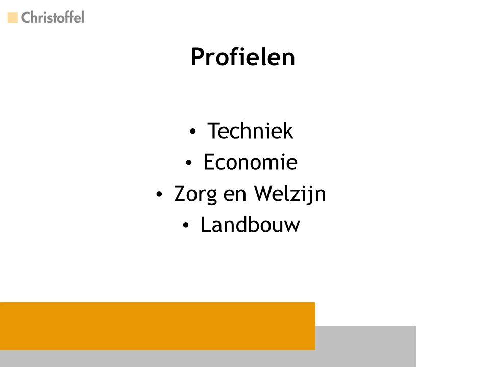 Profielverplichte vakken Techniek Wiskunde Nask Zorg & Welzijn Biologie Wiskunde (kader) Geschiedenis (basis) Landbouw Wiskunde Biologie /Nask Economie Wiskunde