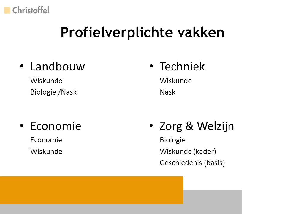 Profielverplichte vakken Techniek Wiskunde Nask Zorg & Welzijn Biologie Wiskunde (kader) Geschiedenis (basis) Landbouw Wiskunde Biologie /Nask Economi