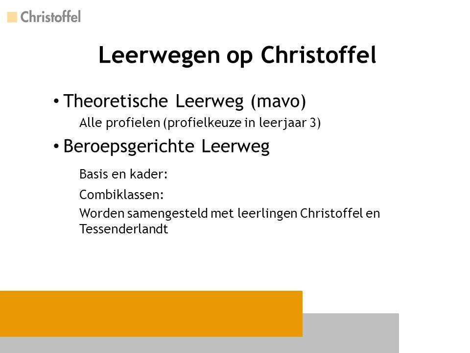 Leerwegen op Christoffel Theoretische Leerweg (mavo) Alle profielen (profielkeuze in leerjaar 3) Beroepsgerichte Leerweg Basis en kader: Combiklassen:
