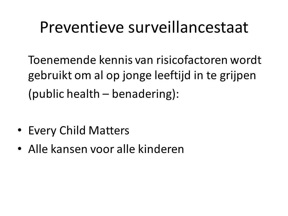 Preventieve surveillancestaat Toenemende kennis van risicofactoren wordt gebruikt om al op jonge leeftijd in te grijpen (public health – benadering): Every Child Matters Alle kansen voor alle kinderen