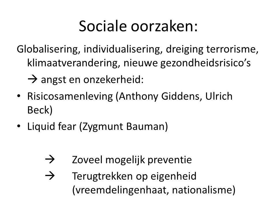 Sociale oorzaken: Globalisering, individualisering, dreiging terrorisme, klimaatverandering, nieuwe gezondheidsrisico's  angst en onzekerheid: Risico