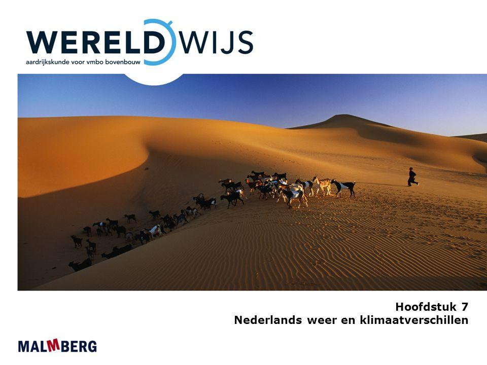 Paragraaf 1 Weer en klimaat in Nederland Weer en klimaat Weer: toestand van de atmosfeer op een bepaald moment op een bepaalde plaats Klimaat: gemiddelde weer over een groot aantal jaren in een gebied Klimaatgrafiek: hierin kun je de kenmerken temperatuur en neerslag aflezen