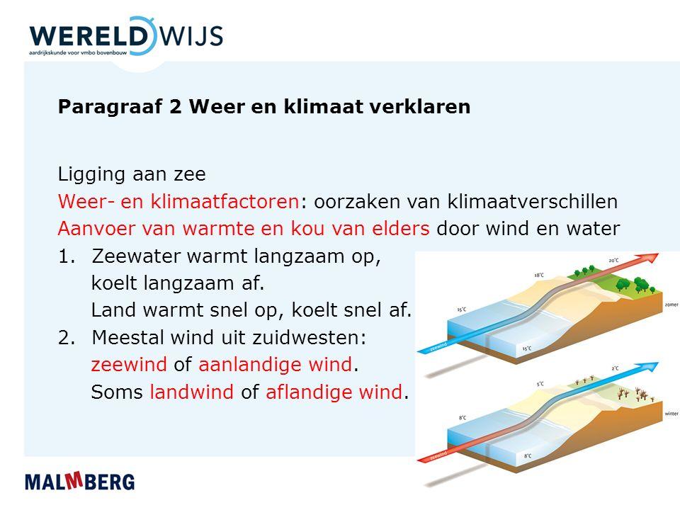 Paragraaf 2 Weer en klimaat verklaren Ligging aan zee Weer- en klimaatfactoren: oorzaken van klimaatverschillen Aanvoer van warmte en kou van elders door wind en water 1.Zeewater warmt langzaam op, koelt langzaam af.