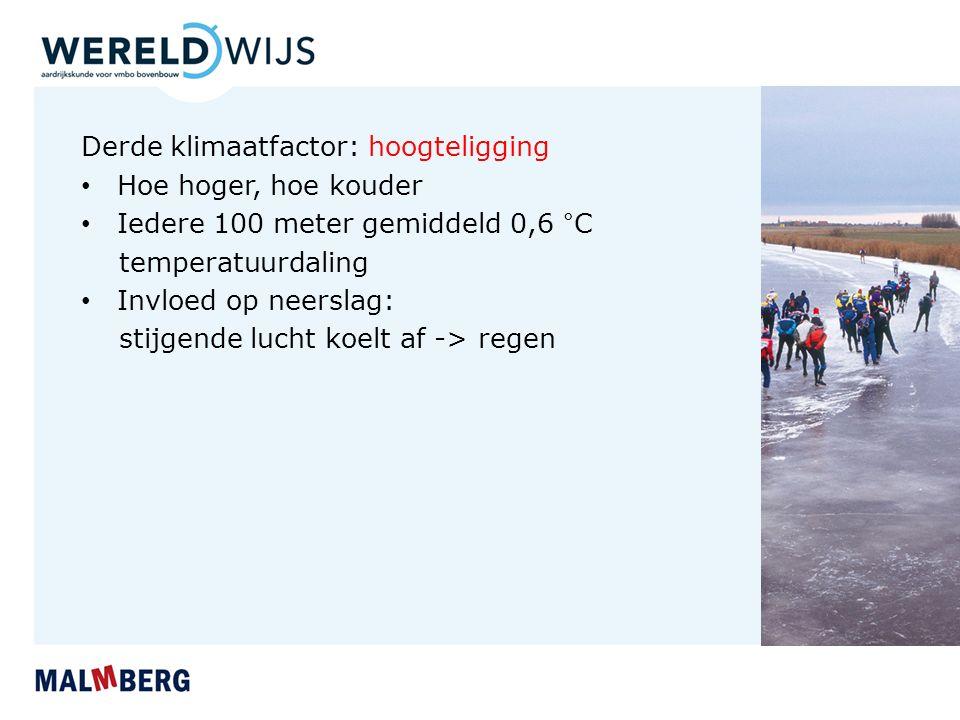 Derde klimaatfactor: hoogteligging Hoe hoger, hoe kouder Iedere 100 meter gemiddeld 0,6 °C temperatuurdaling Invloed op neerslag: stijgende lucht koelt af -> regen