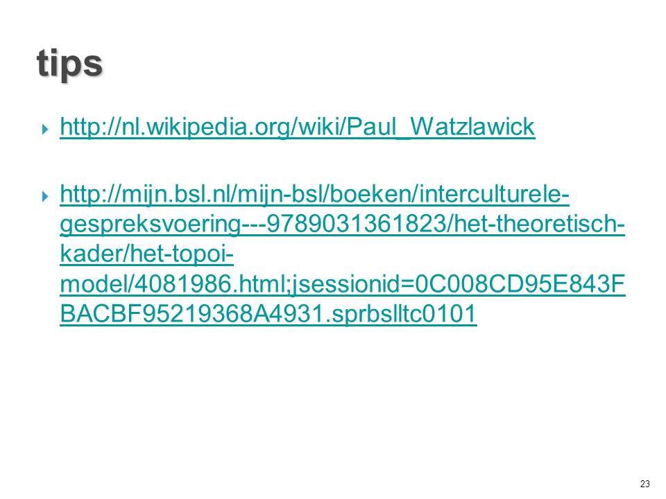 tips  http://nl.wikipedia.org/wiki/Paul_Watzlawick http://nl.wikipedia.org/wiki/Paul_Watzlawick  http://mijn.bsl.nl/mijn-bsl/boeken/interculturele- gespreksvoering---9789031361823/het-theoretisch- kader/het-topoi- model/4081986.html;jsessionid=0C008CD95E843F BACBF95219368A4931.sprbslltc0101 http://mijn.bsl.nl/mijn-bsl/boeken/interculturele- gespreksvoering---9789031361823/het-theoretisch- kader/het-topoi- model/4081986.html;jsessionid=0C008CD95E843F BACBF95219368A4931.sprbslltc0101 23