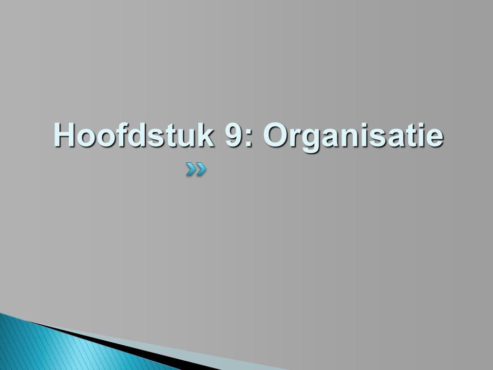 Hoofdstuk 9: Organisatie