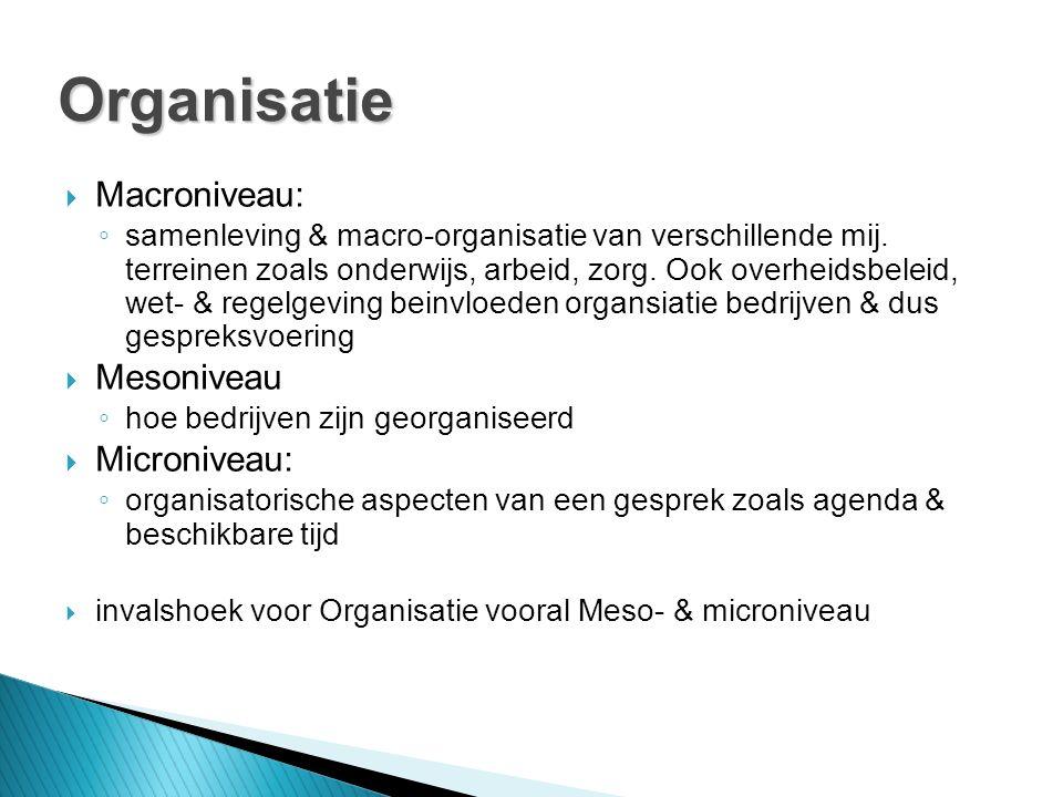  Macroniveau: ◦ samenleving & macro-organisatie van verschillende mij.