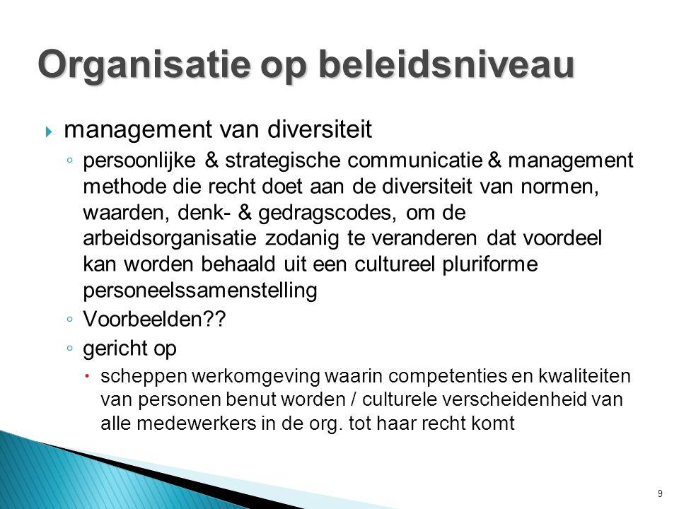 9  management van diversiteit ◦ persoonlijke & strategische communicatie & management methode die recht doet aan de diversiteit van normen, waarden, denk- & gedragscodes, om de arbeidsorganisatie zodanig te veranderen dat voordeel kan worden behaald uit een cultureel pluriforme personeelssamenstelling ◦ Voorbeelden .