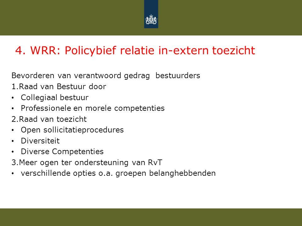 4. WRR: Policybief relatie in-extern toezicht Bevorderen van verantwoord gedrag bestuurders 1.Raad van Bestuur door Collegiaal bestuur Professionele e