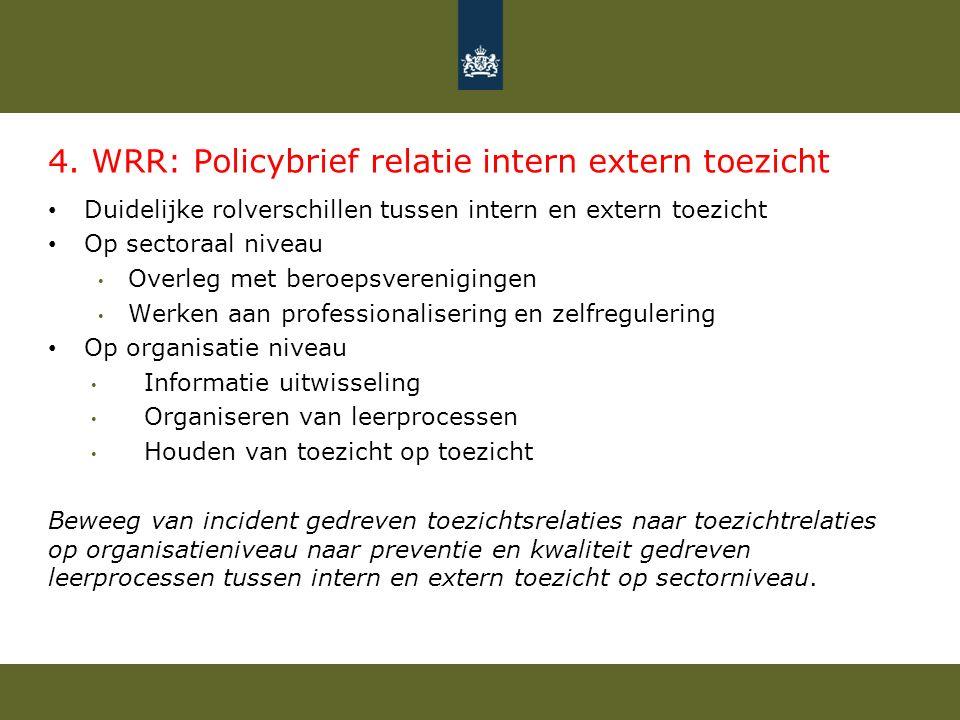 4. WRR: Policybrief relatie intern extern toezicht Duidelijke rolverschillen tussen intern en extern toezicht Op sectoraal niveau Overleg met beroepsv