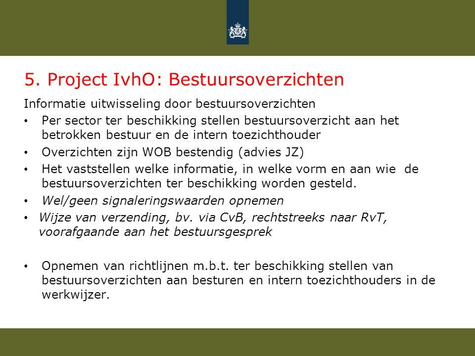 5. Project IvhO: Bestuursoverzichten Informatie uitwisseling door bestuursoverzichten Per sector ter beschikking stellen bestuursoverzicht aan het bet