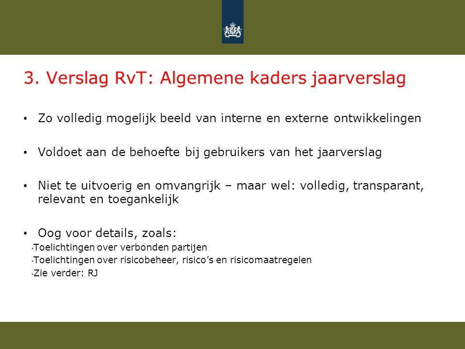 3. Verslag RvT: Algemene kaders jaarverslag Zo volledig mogelijk beeld van interne en externe ontwikkelingen Voldoet aan de behoefte bij gebruikers va
