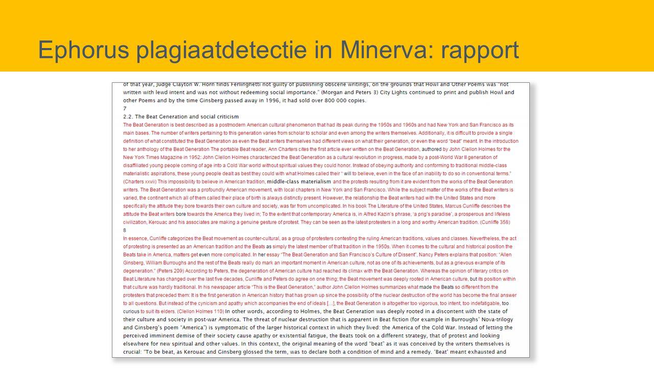 Ephorus plagiaatdetectie in Minerva: rapport