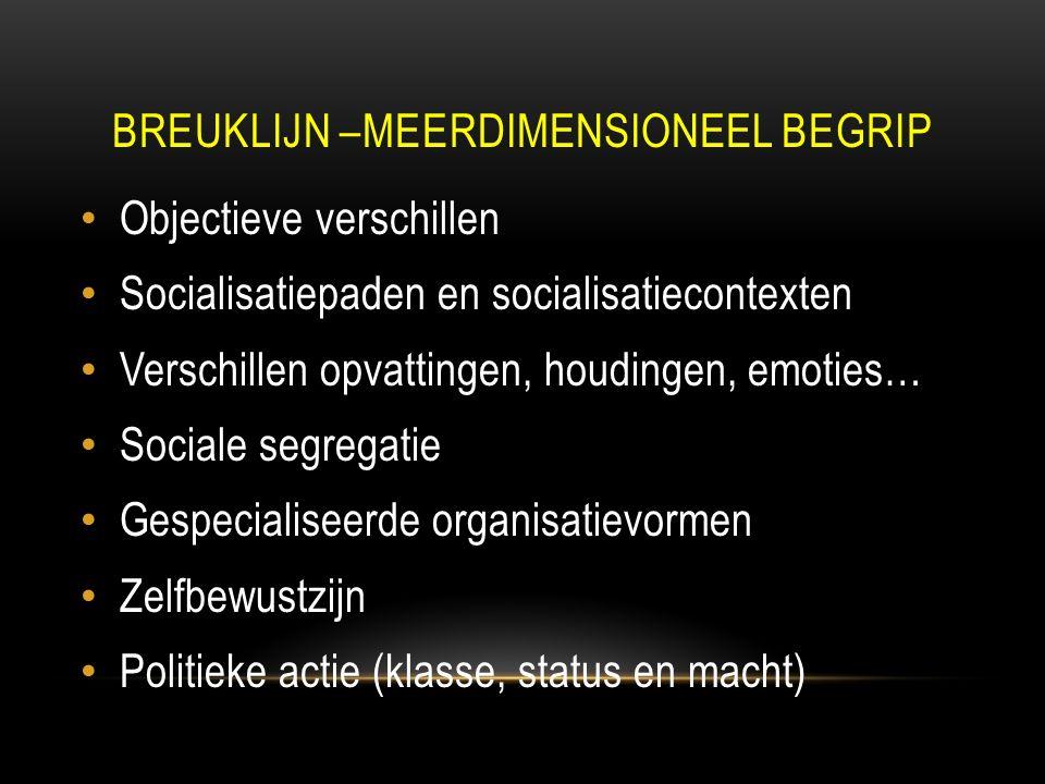 BREUKLIJN –MEERDIMENSIONEEL BEGRIP Objectieve verschillen Socialisatiepaden en socialisatiecontexten Verschillen opvattingen, houdingen, emoties… Sociale segregatie Gespecialiseerde organisatievormen Zelfbewustzijn Politieke actie (klasse, status en macht)