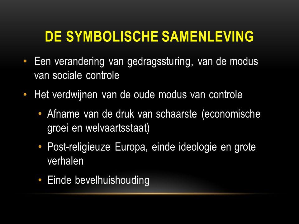 DE SYMBOLISCHE SAMENLEVING Een verandering van gedragssturing, van de modus van sociale controle Het verdwijnen van de oude modus van controle Afname van de druk van schaarste (economische groei en welvaartsstaat) Post-religieuze Europa, einde ideologie en grote verhalen Einde bevelhuishouding