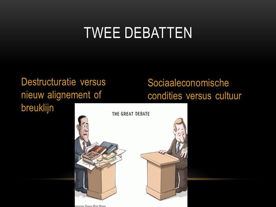 TWEE DEBATTEN Destructuratie versus nieuw alignement of breuklijn Sociaaleconomische condities versus cultuur