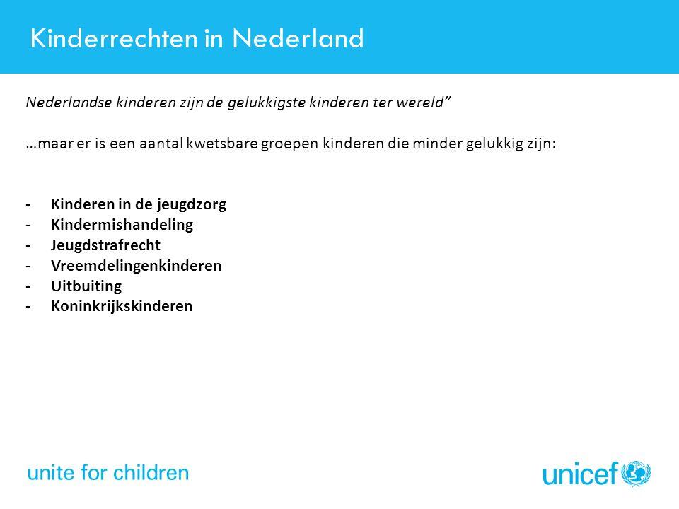"""Kinderrechten in Nederland Nederlandse kinderen zijn de gelukkigste kinderen ter wereld"""" …maar er is een aantal kwetsbare groepen kinderen die minder"""
