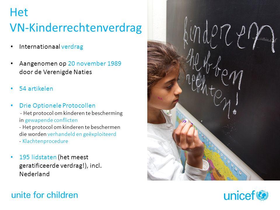 Het VN-Kinderrechtenverdrag Internationaal verdrag Aangenomen op 20 november 1989 door de Verenigde Naties 54 artikelen Drie Optionele Protocollen - Het protocol om kinderen te bescherming in gewapende conflicten - Het protocol om kinderen te beschermen die worden verhandeld en geëxploiteerd - Klachtenprocedure 195 lidstaten (het meest geratificeerde verdrag!), incl.