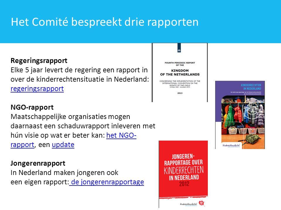 Regeringsrapport Elke 5 jaar levert de regering een rapport in over de kinderrechtensituatie in Nederland: het regeringsrapport regeringsrapport NGO-rapport Maatschappelijke organisaties mogen daarnaast een schaduwrapport inleveren met hún visie op wat er beter kan: het NGO- rapport, een updatehet NGO- rapportupdate Jongerenrapport In Nederland maken jongeren ook een eigen rapport: de jongerenrapportage de jongerenrapportage Het Comité bespreekt drie rapporten