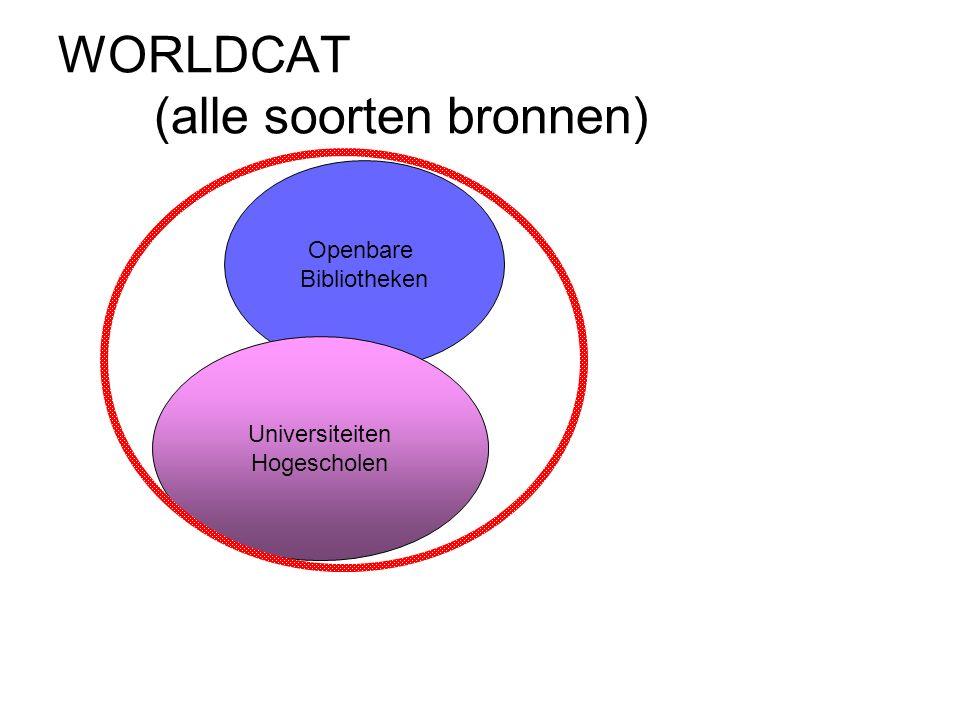 WORLDCAT (alle soorten bronnen) Openbare Bibliotheken Universiteiten Hogescholen