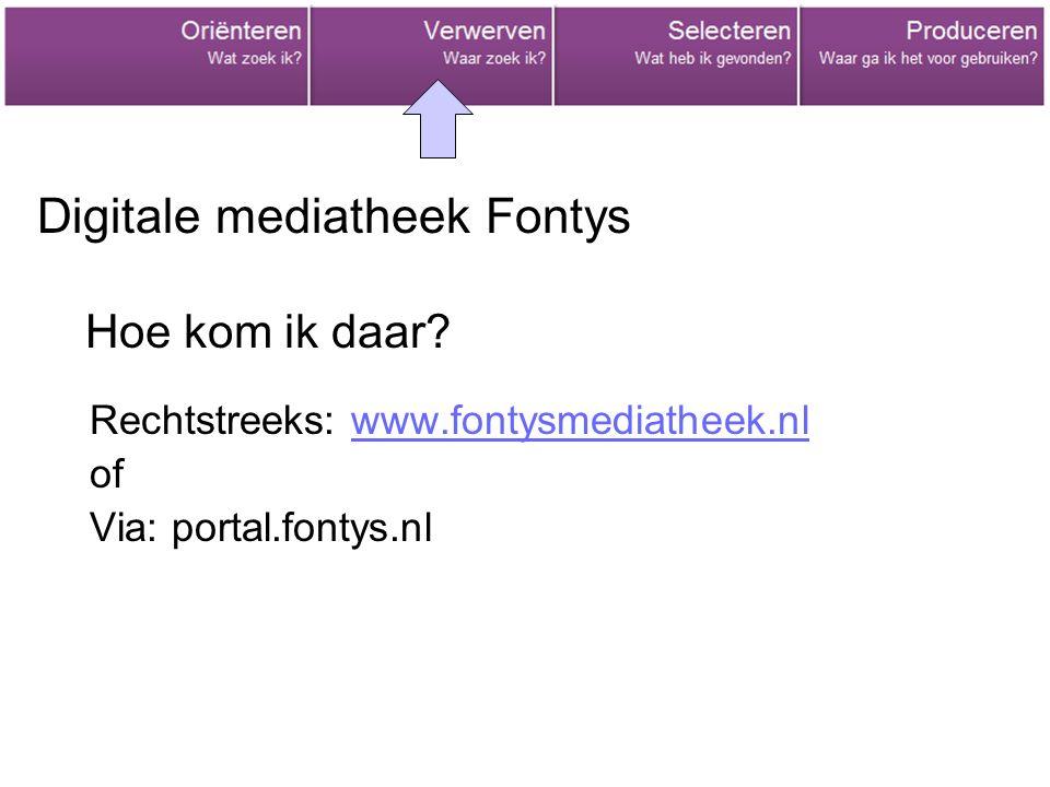 Digitale mediatheek Fontys Rechtstreeks: www.fontysmediatheek.nlwww.fontysmediatheek.nl of Via: portal.fontys.nl Hoe kom ik daar?