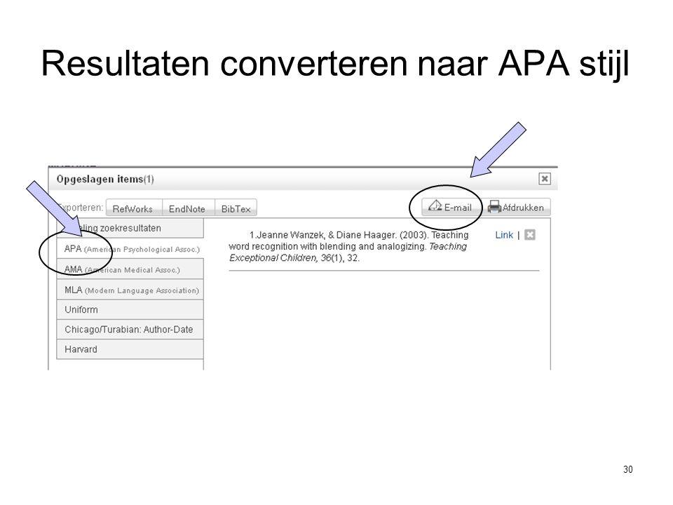 30 Resultaten converteren naar APA stijl