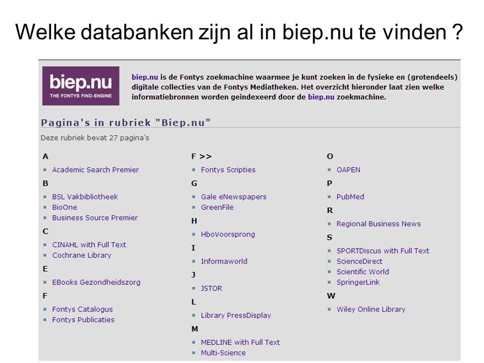 Welke databanken zijn al in biep.nu te vinden ?