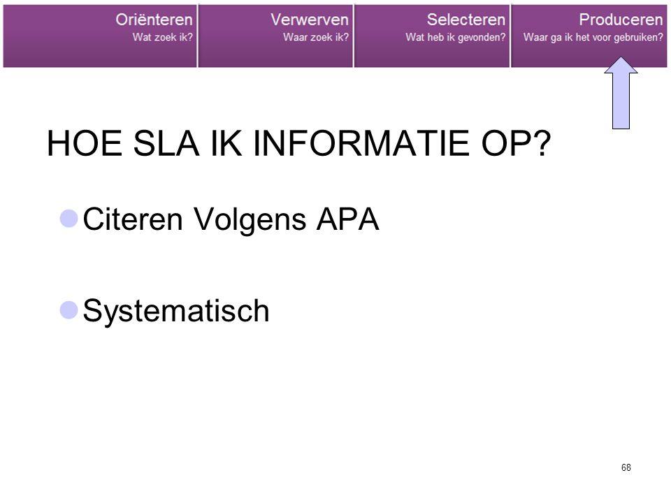 68 HOE SLA IK INFORMATIE OP Citeren Volgens APA Systematisch
