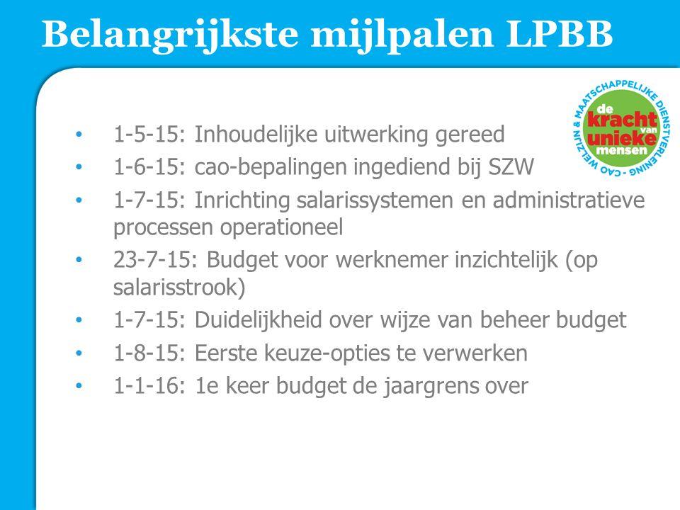 Belangrijkste mijlpalen LPBB 1-5-15: Inhoudelijke uitwerking gereed 1-6-15: cao-bepalingen ingediend bij SZW 1-7-15: Inrichting salarissystemen en administratieve processen operationeel 23-7-15: Budget voor werknemer inzichtelijk (op salarisstrook) 1-7-15: Duidelijkheid over wijze van beheer budget 1-8-15: Eerste keuze-opties te verwerken 1-1-16: 1e keer budget de jaargrens over