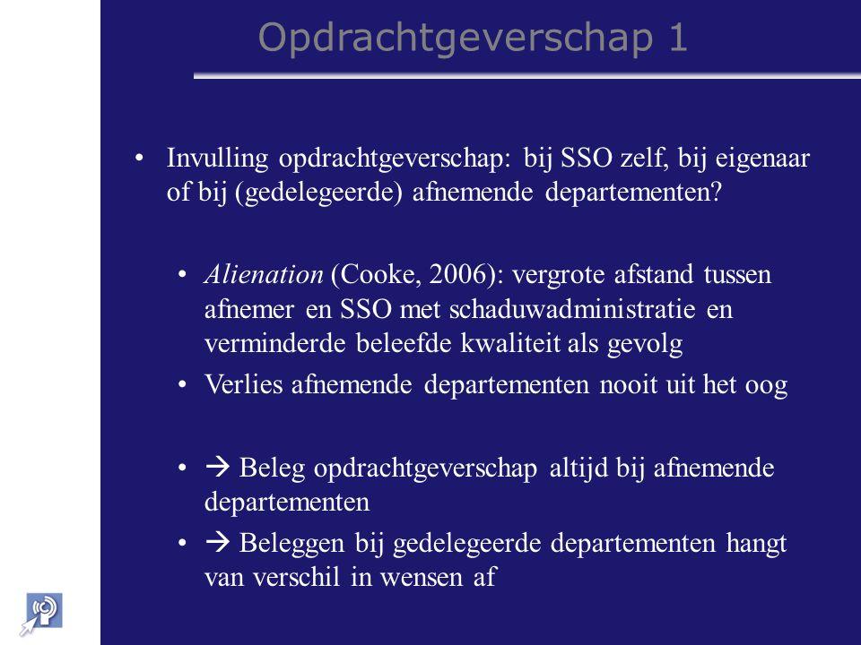 Opdrachtgeverschap 1 Invulling opdrachtgeverschap: bij SSO zelf, bij eigenaar of bij (gedelegeerde) afnemende departementen.