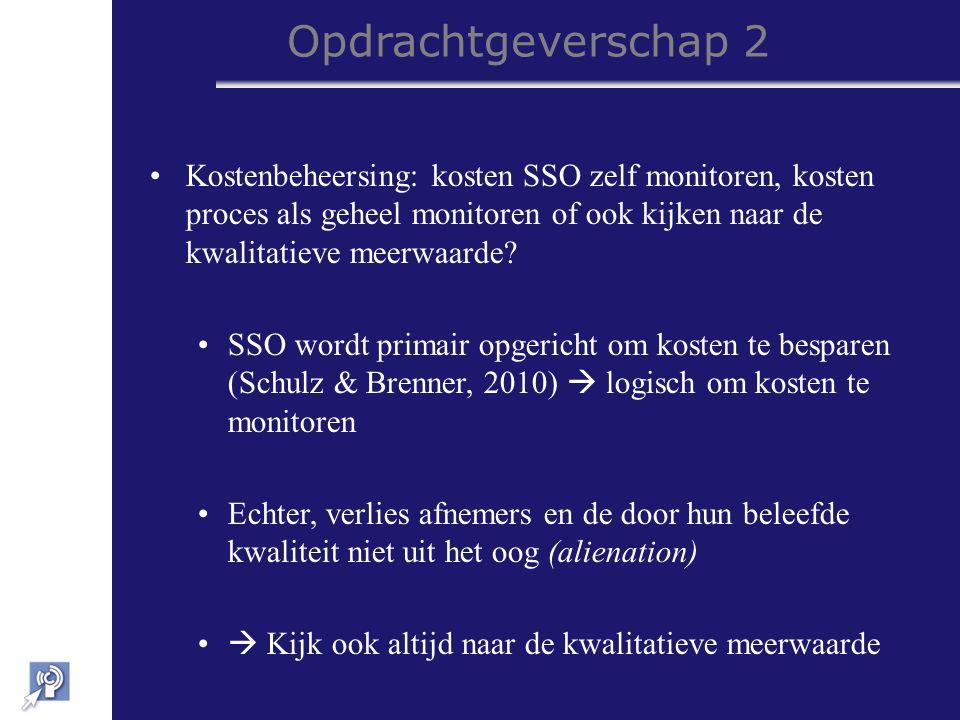 Opdrachtgeverschap 2 Kostenbeheersing: kosten SSO zelf monitoren, kosten proces als geheel monitoren of ook kijken naar de kwalitatieve meerwaarde.