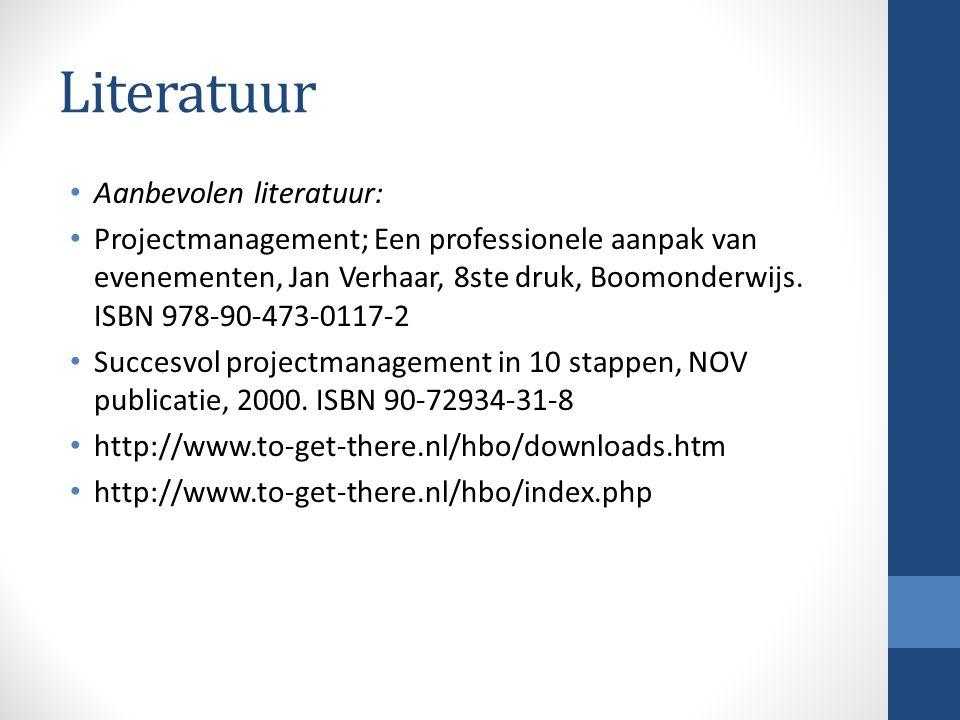 Literatuur Aanbevolen literatuur: Projectmanagement; Een professionele aanpak van evenementen, Jan Verhaar, 8ste druk, Boomonderwijs.