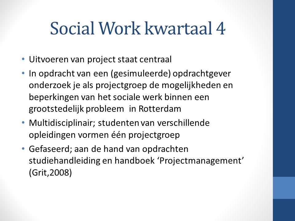 Social Work kwartaal 4 Uitvoeren van project staat centraal In opdracht van een (gesimuleerde) opdrachtgever onderzoek je als projectgroep de mogelijk