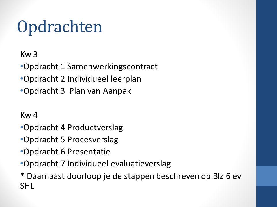 Opdrachten Kw 3 Opdracht 1 Samenwerkingscontract Opdracht 2 Individueel leerplan Opdracht 3 Plan van Aanpak Kw 4 Opdracht 4 Productverslag Opdracht 5