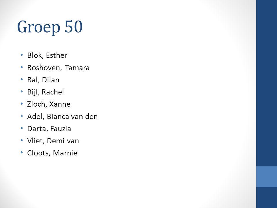 Groep 50 Blok, Esther Boshoven, Tamara Bal, Dilan Bijl, Rachel Zloch, Xanne Adel, Bianca van den Darta, Fauzia Vliet, Demi van Cloots, Marnie