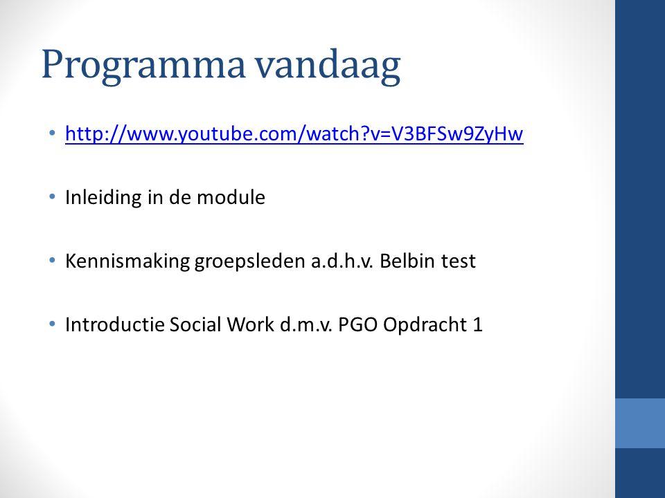 Programma vandaag http://www.youtube.com/watch?v=V3BFSw9ZyHw Inleiding in de module Kennismaking groepsleden a.d.h.v. Belbin test Introductie Social W