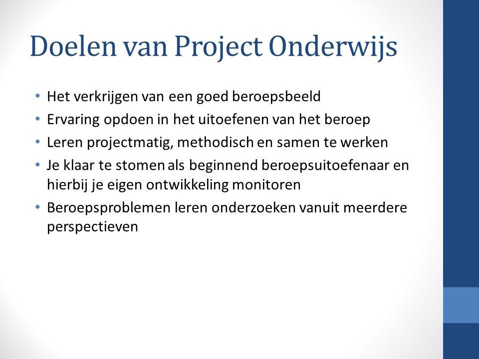 Doelen van Project Onderwijs Het verkrijgen van een goed beroepsbeeld Ervaring opdoen in het uitoefenen van het beroep Leren projectmatig, methodisch