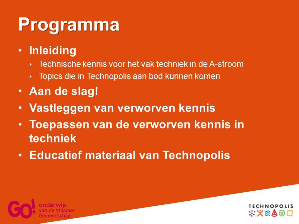 Programma Inleiding  Technische kennis voor het vak techniek in de A-stroom  Topics die in Technopolis aan bod kunnen komen Aan de slag.