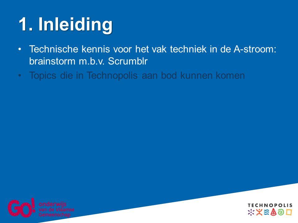1. Inleiding Technische kennis voor het vak techniek in de A-stroom: brainstorm m.b.v.