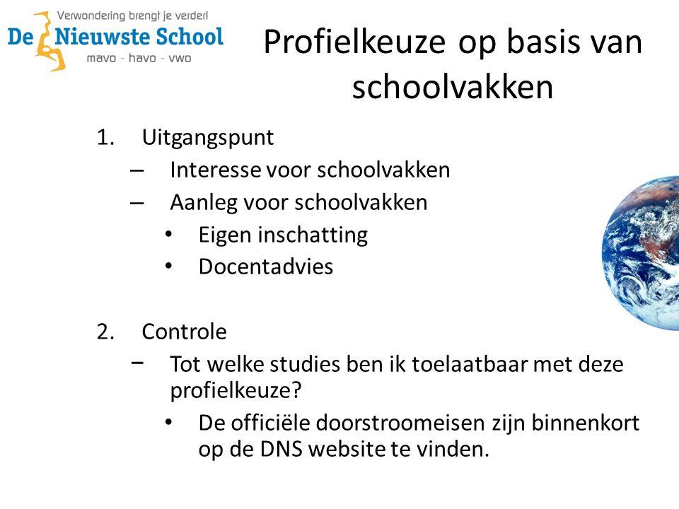 1.Uitgangspunt – Interesse voor schoolvakken – Aanleg voor schoolvakken Eigen inschatting Docentadvies 2.Controle − Tot welke studies ben ik toelaatbaar met deze profielkeuze.