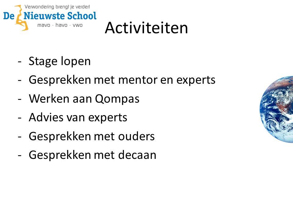 Activiteiten -Stage lopen -Gesprekken met mentor en experts -Werken aan Qompas -Advies van experts -Gesprekken met ouders -Gesprekken met decaan