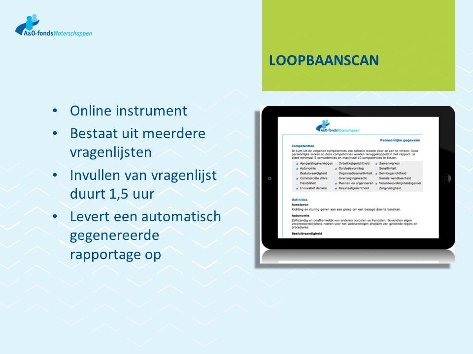 LOOPBAANSCAN Online instrument Bestaat uit meerdere vragenlijsten Invullen van vragenlijst duurt 1,5 uur Levert een automatisch gegenereerde rapportage op