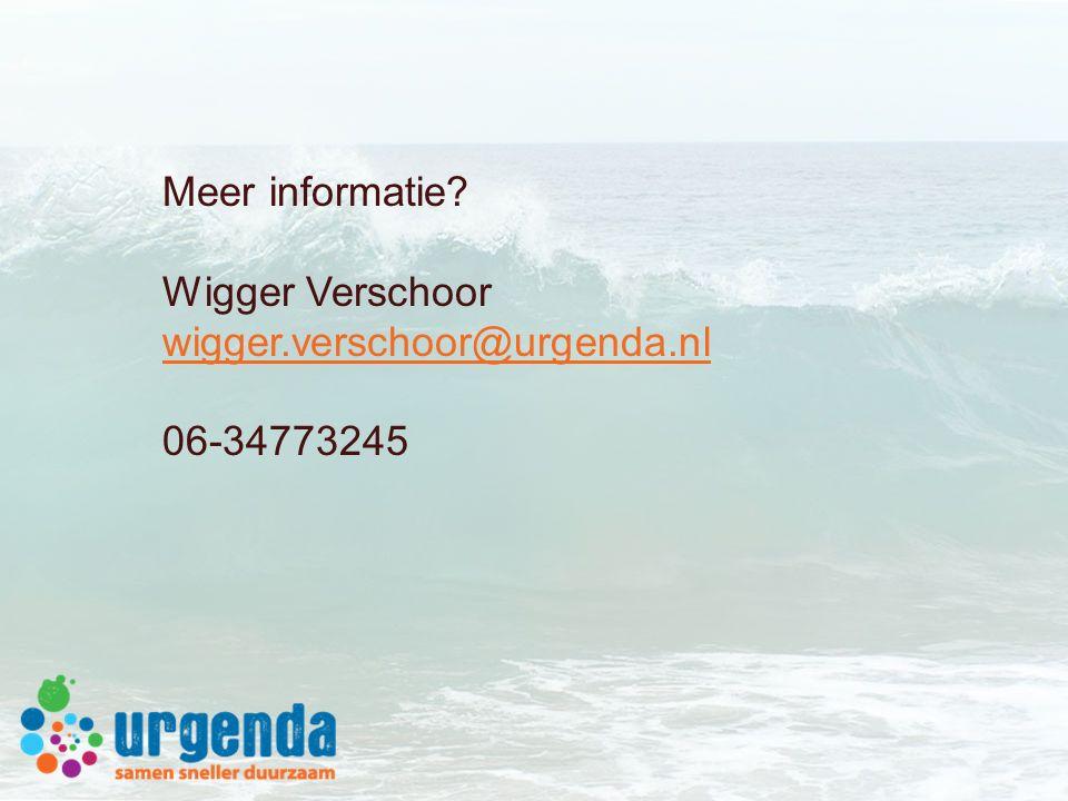 Meer informatie? Wigger Verschoor wigger.verschoor@urgenda.nl 06-34773245