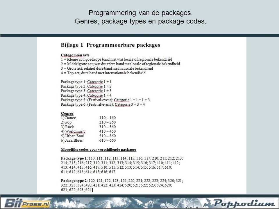 Programmering van de packages. Genres, package types en package codes.