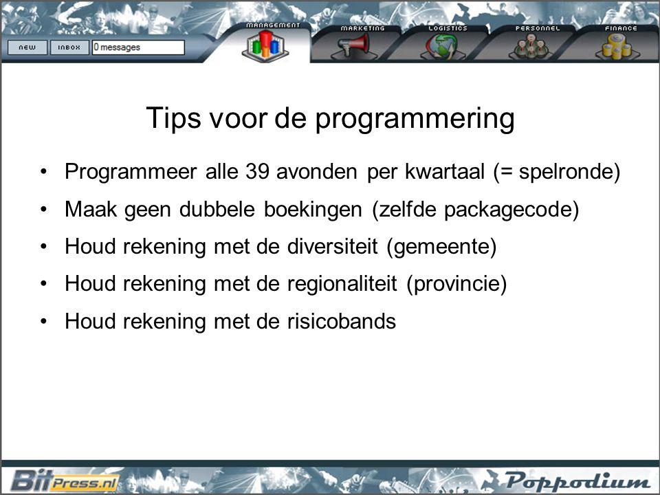 Tips voor de programmering Programmeer alle 39 avonden per kwartaal (= spelronde) Maak geen dubbele boekingen (zelfde packagecode) Houd rekening met d
