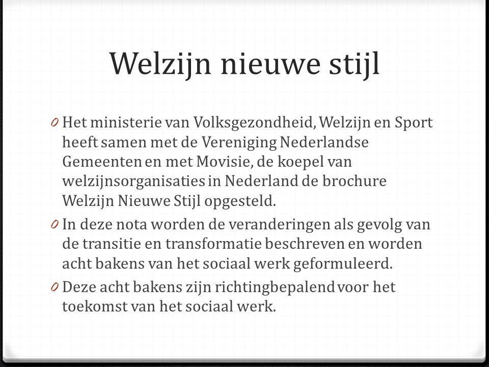 Welzijn nieuwe stijl 0 Het ministerie van Volksgezondheid, Welzijn en Sport heeft samen met de Vereniging Nederlandse Gemeenten en met Movisie, de koe