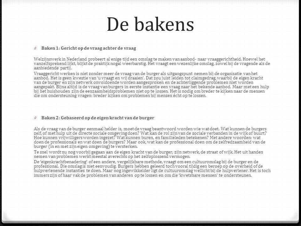De bakens 0 Baken 1: Gericht op de vraag achter de vraag Welzijnswerk in Nederland probeert al enige tijd een omslag te maken van aanbod- naar vraagge